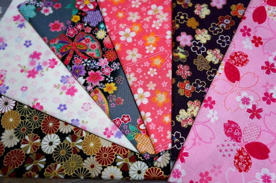 Japanese Fabric Kimono Fabric Scrap 6 Pieces VC20