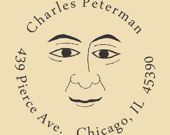 Just a Face in the Crowd Charles Peterman Custom Traditional Rubber Stamp Design R036
