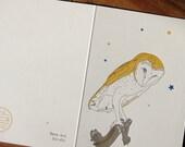 lark press Barn Owl letterpress greeting card with stars