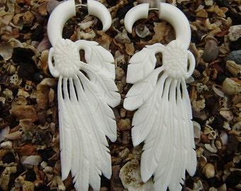 Fake gauge earrings , Natural White Bone, Feather Wings  Earrings ,Anela hawaii , hand craved,tribal style