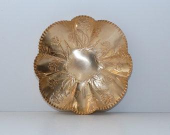 Vintage Solid Brass Bowl Dish Roses Motif