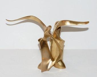 Modernist Brass Seagull Sculptures Bookends