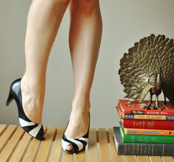 1980s Contrast swirl High Heels, size 5