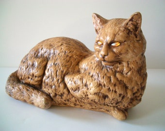 Vintage Ceramic Cat Bank with Rhinestone Eyes