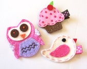 Felt Owl, Cupcake, Bird Hair Clip Sampler - Pink, Chocolate, White Clippies - Birthday present or baby shower gift - SPECIAL Price