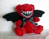 Mini Smiling Red Monster Teddy Bear with Bat Wings