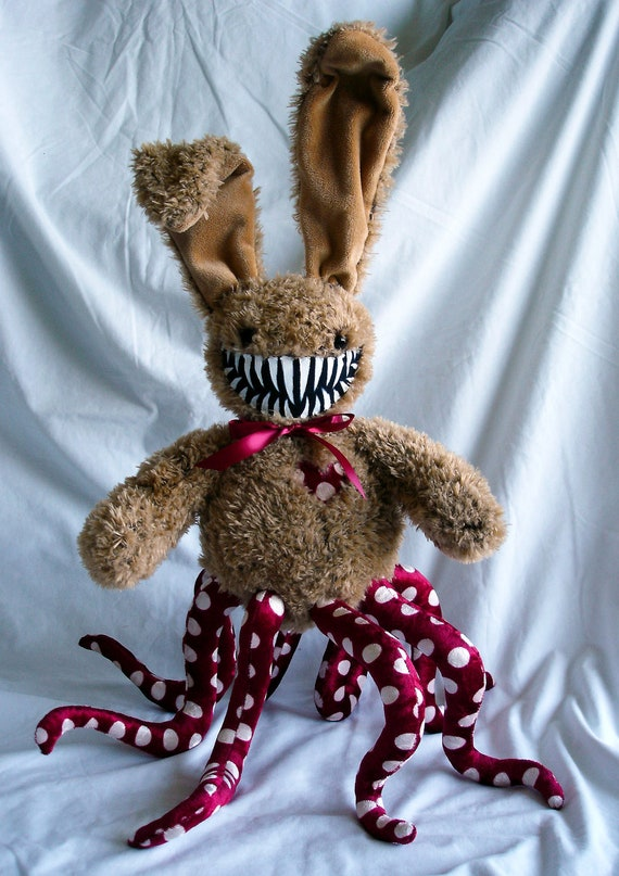 Bunny Rabbit Monster- Red and White polka dot with teeth