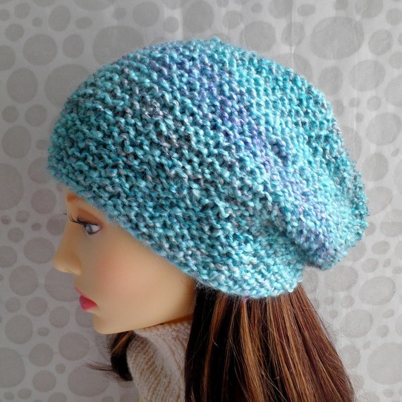 Easy Slouchy Hat Knitting Pattern Straight Needles : KNITTING PATTERN/OCEAN Womans Slouch Hat Pattern/ Easy ...