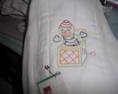 Burp Diaper Embroidered with Jack In The Box Toy