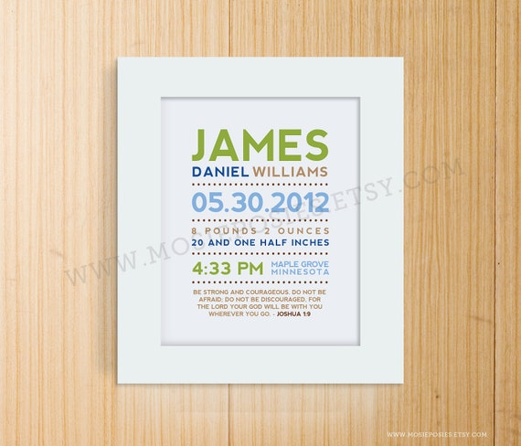 Modern Typography Birth Announcement Print with Bible Verse or Poem
