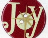 BUTTON RETRO Large JOY Christmas Button Round