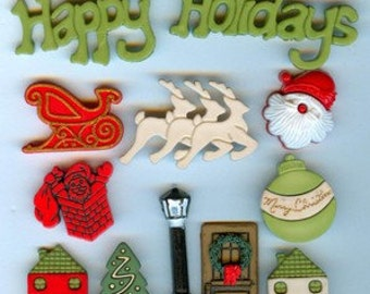 Clearance BUTTONS HAPPY HOLIDAYS set of Christmas buttons