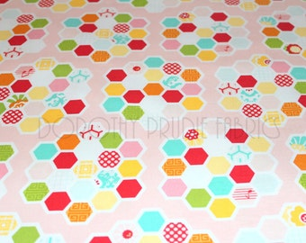 CLEARANCE FABRIC SIMPLY Sweet Hexies in Light Pink by Riley Blake  1/2 Yard