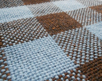 Wedgewood Blue and Brown Heathered Plaid Woven Baby Blanket