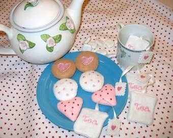 play food, pretend food felt Tea with cookies and tea bags tea party birthday party #PF2571