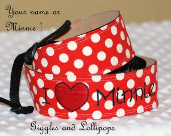 Personalized monogram disney minnie camera strap D/SLR camera nikon sony cannon shoulder strap
