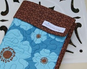 SALE - Organic Baby Quilt - Turquoise and Brown-Ready to Ship