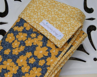 SALE - Organic Baby Quilt -Gold and Dark Gray Floral