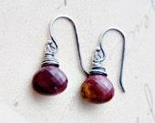 Red Stone Earrings Gemstone Jewelry Mookaite Dangle