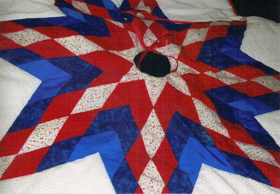 Patriotic christmas tree skirt red white blue by