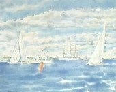 Vintage Nautical Print, Book Plate, Sailing Print, Americas Cup, At The Finish, Courageous, Southern Cross, Joseph Golinkin, Sailboats, 1977