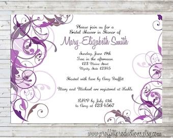 Swirled Custom bridal shower invitation card - digital file - modern purple swirls
