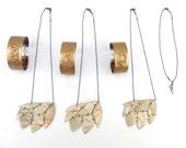 Birch bark wedding bridesmaid bracelet and necklace sets