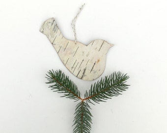 Birch bark bird decoration ornament, Blackbird