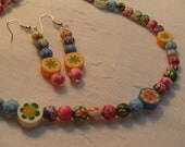 Flowered Polymer Clay Necklace and Earrings Set (N321)