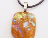 Dichroic glass pendant - caramel with purple and gold dichro - multicolor dichro necklace - fused glass pendant - butterscotch - golden