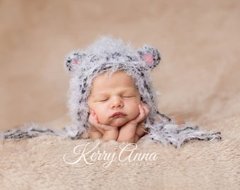 Baby Hat Newborn Hat, Photography Prop, Knit Hat, Baby Knit Hat, Newborn Baby Hat, Litlle Mouse