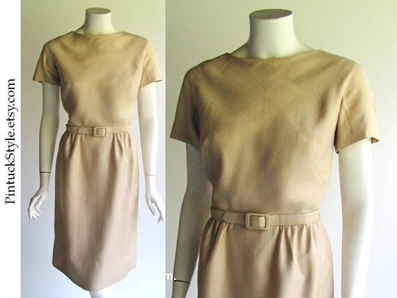 Silk Sheath Dress,  Vintage 1960s Jackie O or Mad Men era, Champagne Beige Silk Shatung,  medium size, 29 waist