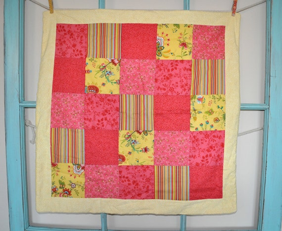 "Car Seat Quilt - 28"" x 28"" - Pink and Yellow Floral"