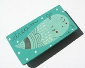 Turquoise wooden Magnet hand painted Dream a ghost