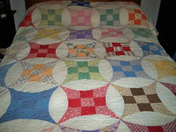 Vintage 1940s Snowball Quilt Pink Scalloped Edging Handmade Hand Quilted