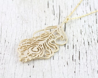 Peacock Necklace - Smooth, Handmade, Elegant, Classy in Gold and Silver, Dainty, Beautiful Everyday Necklace. Sweet Heirloom Quality Gift.