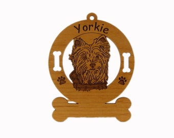 4255 Yorkie Head 2  Personalized Dog Ornament - Free Shipping