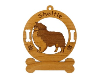 3937 Sheltie Tricolor Standing Personalized Dog Ornament