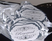 RESERVED Signs, Wedding Signs, Reserved Row, Reserved for Family, Sign, Custom -  Set of 6 with crystals - personalize your text and colors
