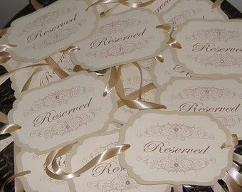Wedding Chair Signs -  Set of 15  - Damask