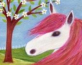 Horse Art Painting Art Block Print, Horse Gift