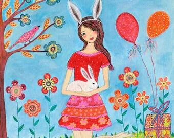 Rabbit Girl Art Print, Nursery Decor, Baby Nursery, Children Decor
