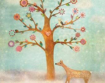 Fawn and Owl Art Print, Large Art Print, Nursery Decor, Nursery Art Print