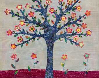 Art Print Tree Collage Painting Mixed Media Art Print, Tree Poster Print 20 x 20 Inches