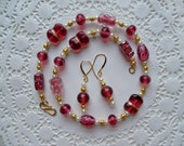 Sale/Check Coupon Code - CRANBERRY JUBILEE, LAMPWORK Beaded Necklace and Earrings/Valentine Gift