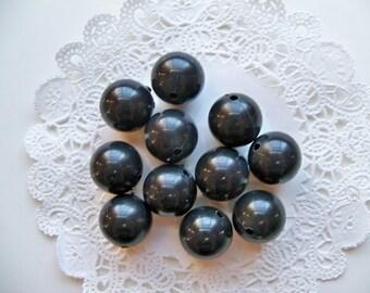 Vintage Large Acrylic BLACK ROUND Beads/Black Acrylic Beads/Large Ball Beads/Black Ball Beads