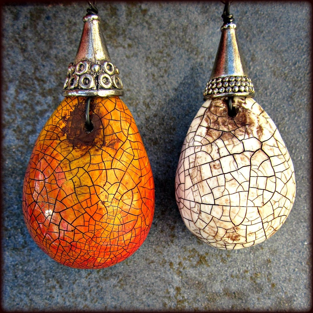 Set Of Two Handmade Paper Mache Ornaments With Crackled