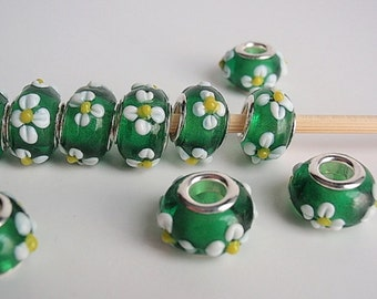 7 Handmade Lampwork European Style Beads, Jewelry making Supply, rondelle for European style bracelets