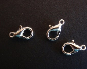 50 Silver Lobster Claws, Jewelry making Finding Supply,  6mm X 10mm Lobster Claw Clasp, Alloy