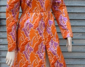 1960s I. Magnin & Co. Orange and Purple Brocade Metallic Dress
